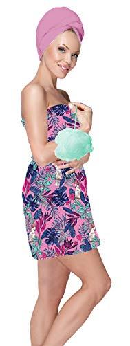 Blue Star Clothing Womens 3 Piece Tropical Bath Body Plush Shower Towel Wrap Spa Set | Bath Body Towel Wrap with Adjustable Fastener, Hair Towel Twist, Loofah/Bath Body Sponge