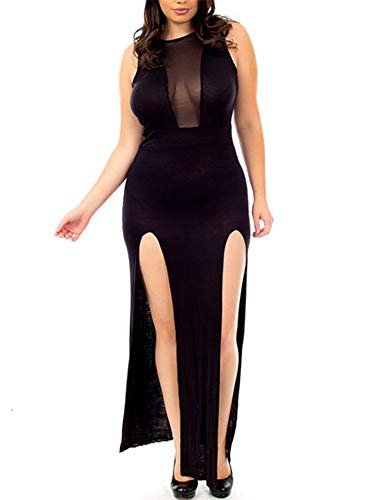 (8007 - Sexy Mesh Cleavage Sleeveless Slit Club Maxi Dress (3X, Black))