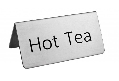 New Star Foodservice 27297 Stainless Steel Table Tent Sign, ''Hot Tea'', 3-Inch by 1-1/2-Inch, Set of 6 by New Star Foodservice