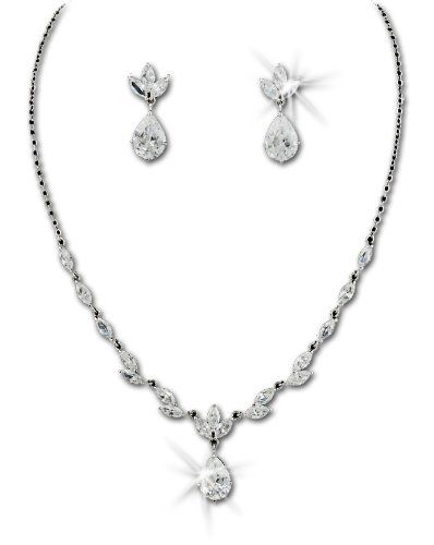 Beautiful Silver-Tone Marquise Cut Cubic Zirconia Necklace Earring Bridal Set