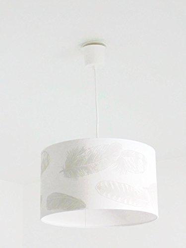 Lustre suspension plafonnier abat-jour motif plumes Luminaire diamètre personnalisé cylindre rond idée cadeau anniversaire décoration tendance