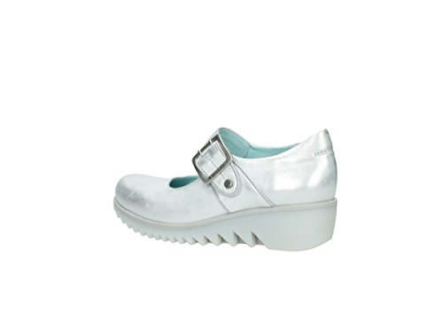 Wolky Comfort Mary Janes Nobile In Pelle Argento 30130