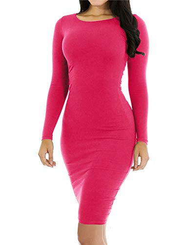 Womens Long Sleeve Crew Boat Round Neck Tight Fitted Cute Bodycon Bandage Midi Knee Length Pencil Dresses Beautiful Mommy and Me for Women Hot Pink S -
