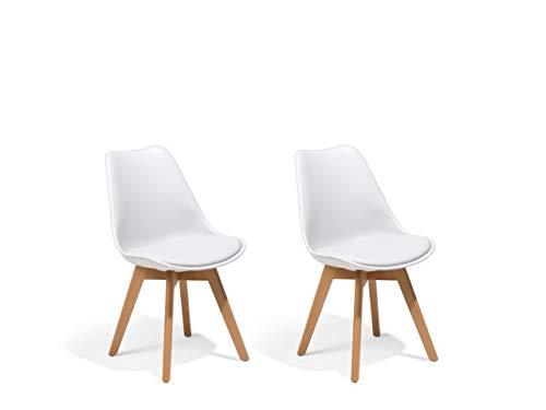Beliani – Lot de 2 Chaises – Dakota II – Bois, Assise en Plastique, Blanc
