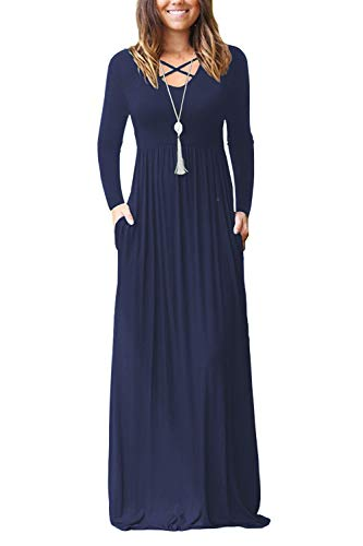 LILBETTER Women's Casual Loose Pocket Maxi Party Long Dresses with Sleeve (Navy Blue, XL)
