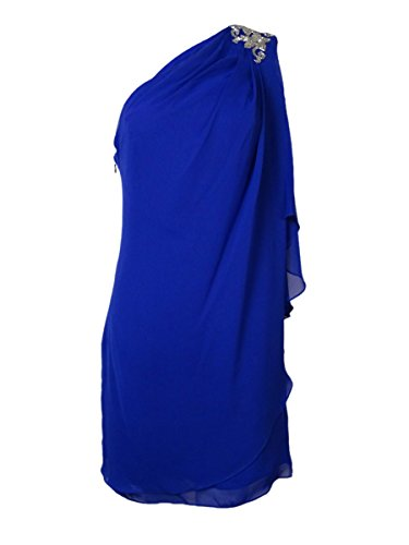 JS Boutique Women's Beaded Draped One Shoulder Chiffon Dress 2, Royal