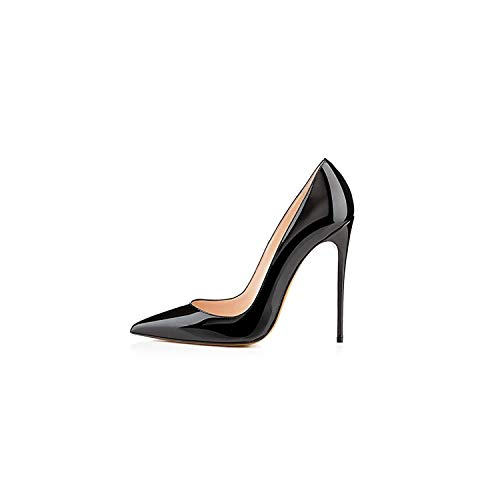 3' Platform Black Pump - Sunshine-Family Woman High Heel Office Black Shoes Pointed Toe Patent Leather,12Cm,7