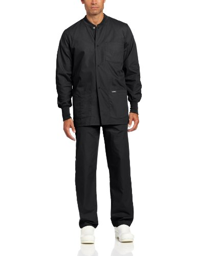 Landau Men's Warm Up Scrub Jacket, Black, Medium by Landau
