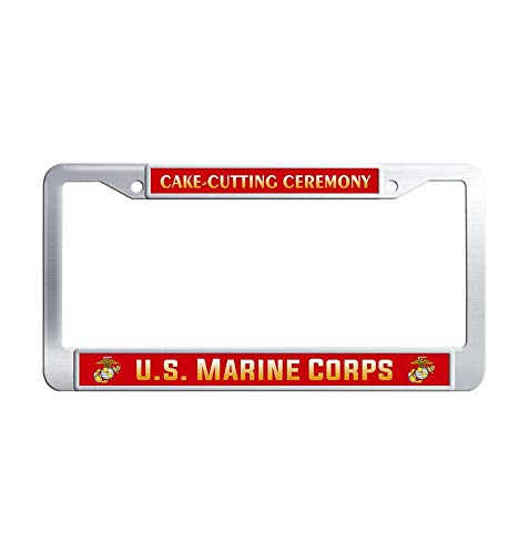 Hensonata Unique Stainless Steel License Plate Frame, US Marine Corps Birthday Cake-Cutting Ceremony Car Licence Plate Covers Slim Design with Screw Caps Car Licenses Plate Covers -