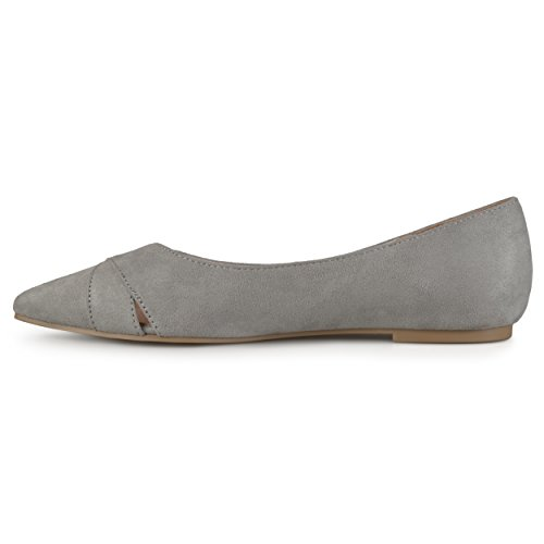 Journee Collection Mujeres Faux Suede Pointed Toe Flats Gris