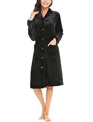 Aimado Robe Women's Button-down Long Robe Soft Fleece Plush Sleeping Bathrobes S-XXL