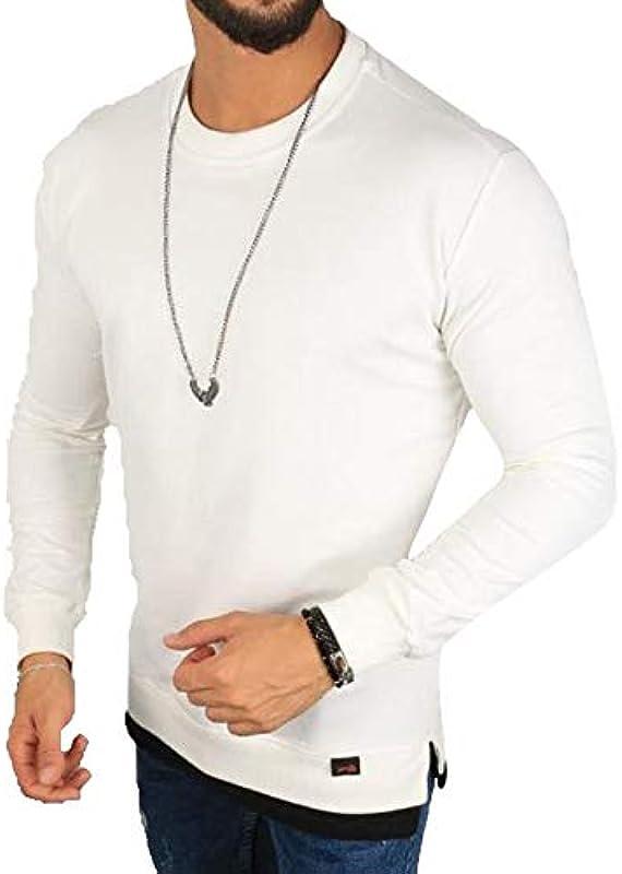 Megaman sweter męski oversize bluza z okrągłym dekoltem sweter Premium koszulka z długim rękawem Basic jednokolorowa rozmiar XL biały: Odzież
