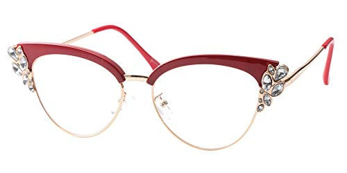 SOOLALA Womens Rhinestones Clubmaster Cateye Reading Glass Eyeglass Frame, Red, 1.75