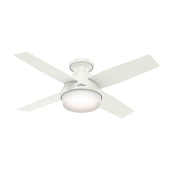 Hunter 59244 Dempsey Low Profile Fresh White Ceiling Fan With Light & Remote, 44 Inch 1 WhisperWind motor delivers ultra-powerful air movement with whisper-quiet performance so you get the cooling power you want without the noise you don't Reversible motor allows you to change the direction of your fan from downdraft mode during the summer to updraft mode during the winter For indoor use only, Low Profile housing is specially designed to fit flush to the ceiling and is ideal for use in rooms with low ceilings
