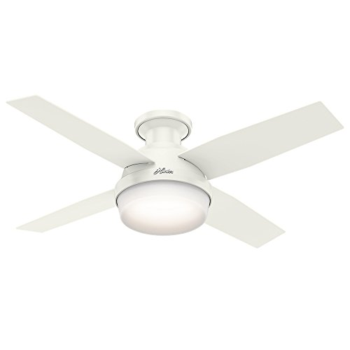 "Hunter Fan Company 59244 Hunter 44"" Dempsey Low Profile Fresh White Ceiling Fan with Light and Remote"", Brass-Antique"