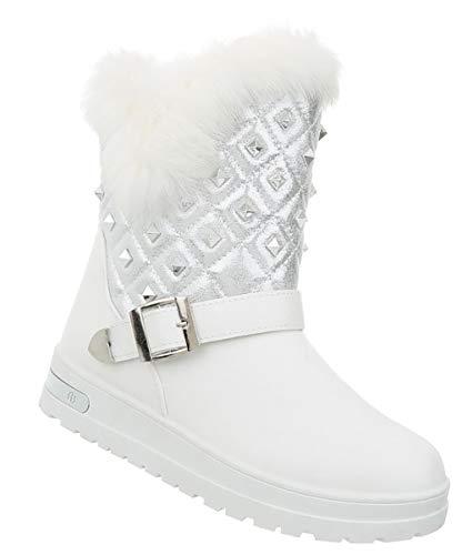 Stiefeletten Kunst Keilabsatz Winterstiefel 41 Wedges Stiefel 36 Leder Boots Damen Booties Optik Fell Schuhe Weiß 18qn5