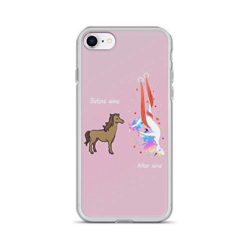 iPhone 7/8 Pure Clear Case Cases Cover Before Wine and After Wine Crazy Pole Dance Unicorn
