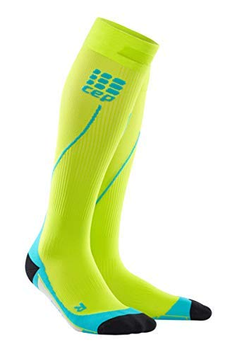 CEP Men's Progressive+ Compression Run Socks 2.0 for Running, Cross Training, Fitness, Calf Injuries, Shin Splits, Recovery, and Athletics, 20-30mmHg Compression, Lime/Hawaii Blue, Size 3