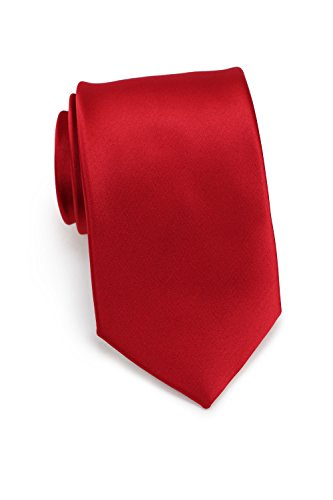 Bows-N-Ties Men's Necktie Solid Color Microfiber Satin Tie 3.25 Inches (Crimson)