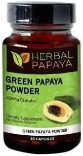Green Papaya Powder Capsules - Natural Blood Platelet Level Boost - Bone Marrow Support - Blood Cleanse and Detox - Immune Health - 60/450mg Veggie Capsules - Made in USA by Herbal Goodness