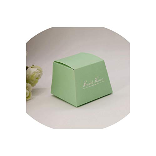 100Pcs European Style Green/Blue Starry Sky Trapezoid Wedding Favors Candy Boxes Party Gift Box With Ribbons & Tags,Naked Green