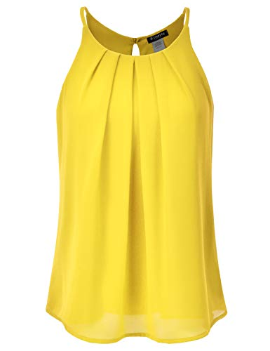 EIMIN Women's Crewneck Pleated Front Double Layered Chiffon Cami Tank Top Yellow S (Double Layer Cami)