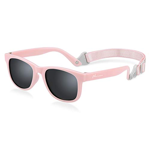 Nacuwa Baby Sunglasses - 100% UV Proof Sunglasses for Baby, Toddler, Kids - Ages 0-2 Years - Case and Pouch included