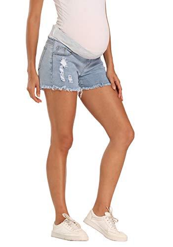 V-VOCNI-Maternity-Shorts-Womens-Maternity-Blue-Mom-Roll-Hem-Tassel-Secret-Over-The-Belly-Denim-Shorts