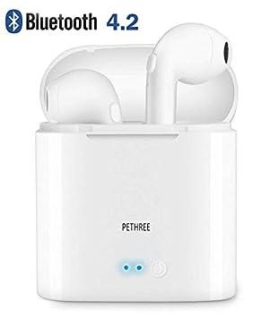 PETHREE Auriculares Sin Cable Stereo, Inalámbricos Bluetooth v4.2 Auriculares Intrauditivos TWS con Estuche de Carga Portátil Micrófono Incorporado para ...