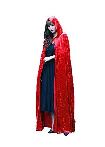 Unisex Velvet Hooded Cloak Role Cape Play Costume Red 170cm