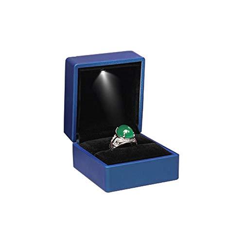 ALLEU caja joyero de para compromiso y boda caja del anillo LED rojo