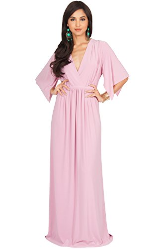 KOH KOH Plus Size Womens Long Kaftan Caftan Short Sleeve Empire Waist Flowy V-Neck Summer Bridesmaid Evening Sexy Cute Modest Maternity Gown Gowns Maxi Dress Dresses, Dusty Pink 2XL 18-20