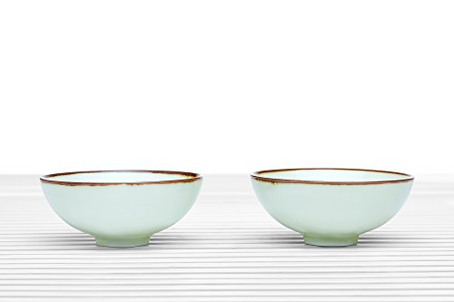 Tea Bowl Set of 2 Cups Summer Chawan Footed Porcelain Teacups Chinese Teaware (landscape)