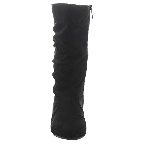 LINK GD92 Girl's Mid-Calf Solid Color Flat Heel Slouch Boots Photo #3