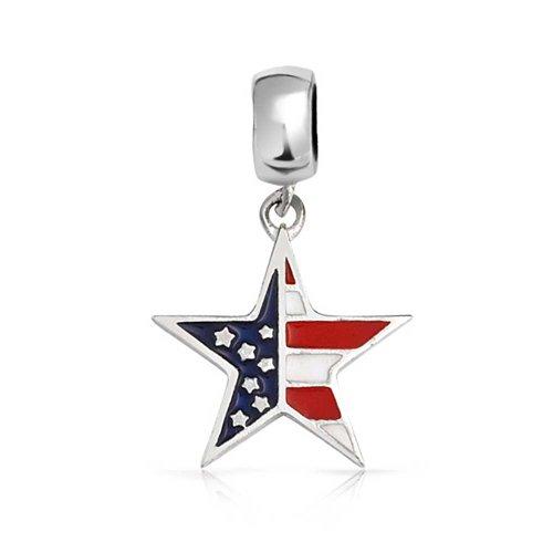 (USA Patriotic American Flag Star Shape Dangle Charm Bead For Women Teen 925 Sterling Silver Fits European Bracelet)