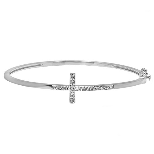 - Dazzlingrock Collection 0.08 Carat (ctw) Sterling Silver Round White Diamond Ladies Sideways Cross Bangle Bracelet