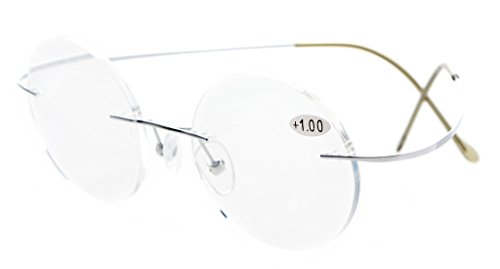 Eyekepper Titanium Rimless Round Reading Glasses Readers Silver - Glasses Round Rimless