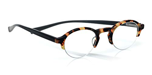 eyebobs Bottomed Out Unisex Premium Readers, Tokyo Tortoise Front with Black Temples in a Matte Finish, 1.50 Magnification