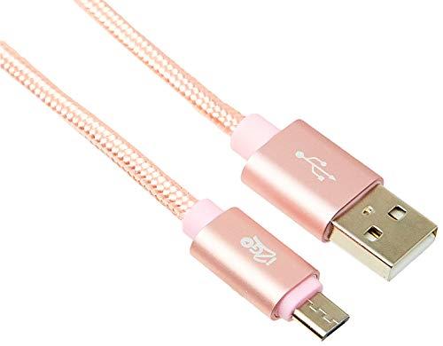 Cabo Micro USB PRO, i2GO, 2 Metros, Suporta até 10.000 dobras, Rosa