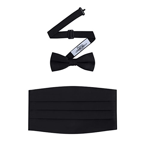 Men's Formal Satin Bowtie and Cummerbund Set - Black, By S. H. Churchill