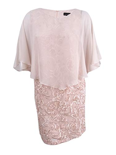 (Connected Apparel Womens Petites Soutache Capelet Special Occasion Dress Pink 8P)