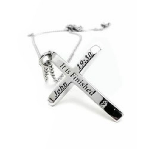 Men's Stainless Steel Cross Thin Red Line Necklace-Jn 19:30