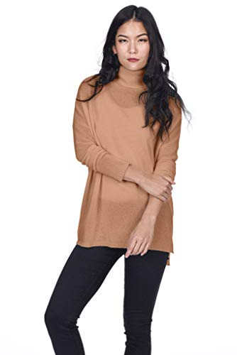 State Cashmere Women's 100% Pure Cashmere Tunic Turtleneck Sweater (Small, (Gold Turtleneck Sweater)