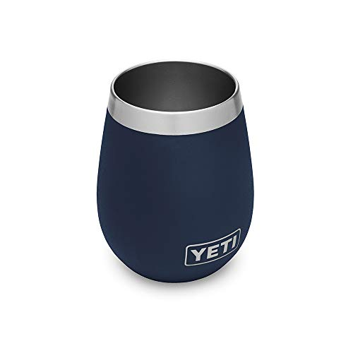 YETI Wine Rambler 10 oz Stainless Steel Vacuum Insulated Tumbler, Navy (Bulk Wine In Glasses Sale For)