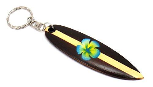 Surfboard Keychain Surf Accessories (Womens Surfboard Keyring - Surfboard Keychain - Hawaiian Flower Keyring (Blue Flower))