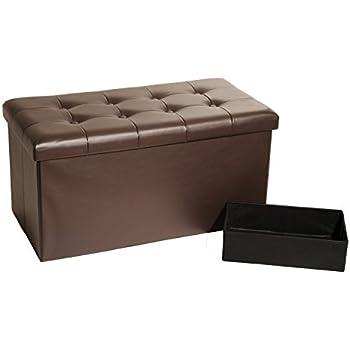 Attirant Seville Classics Foldable Faux Leather Storage Bench Ottoman Espresso