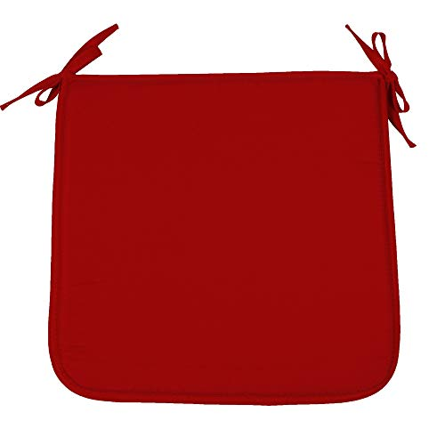 - SimpVale Pack of 4 Chair Cushions with Ties - Seat Cushion Pads - for Office Home Garden (40x40x1cm, Red)