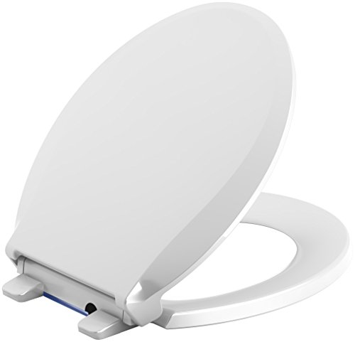 KOHLER 75758-0 Cachet Nightlight Quiet-Close with Grip-Tight Round-Front Toilet Seat in - Close Lid Toilet Slow