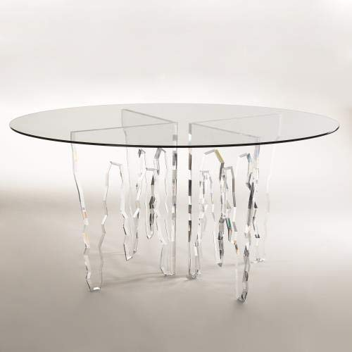Global Views Modern Clear Acrylic Icicle Ice Dining Table | Round 6 Seater Sculpture Designer