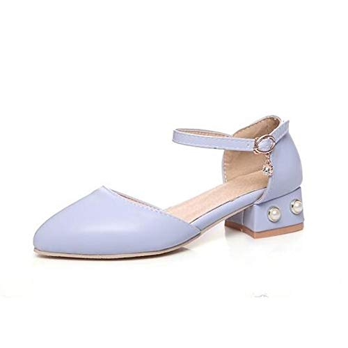 Heels Heel Polyurethane Beige Women's Chunky PU Blue Shoes Pink Blue Comfort Spring ZHZNVX KMyH8qY4ww